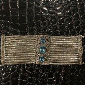 John Hardy Wide Bracelet With Blue Topaz Stones